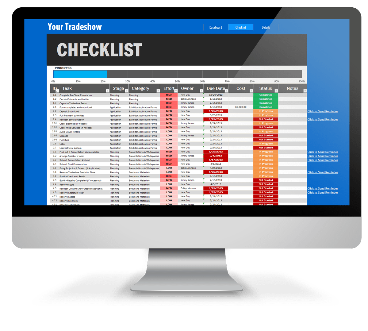 Trade Show Checklist Excel Template - screenshot