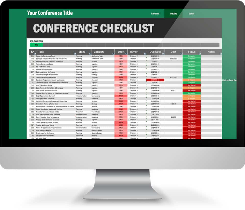 amazing 161 step conference planning checklist excel template