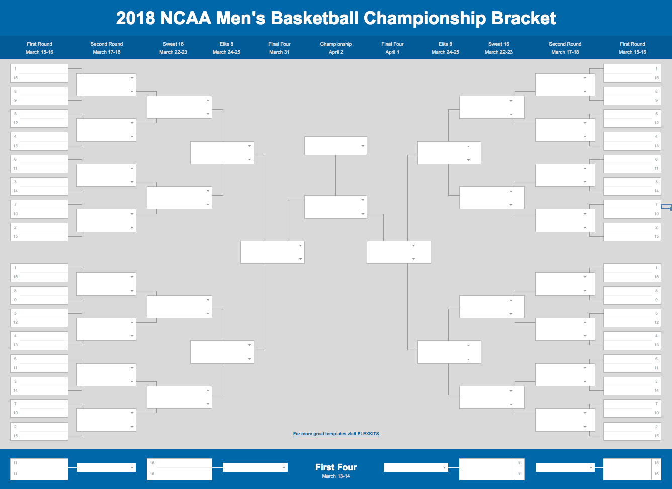 2018 March Madness Bracket (Excel and Google Sheet)