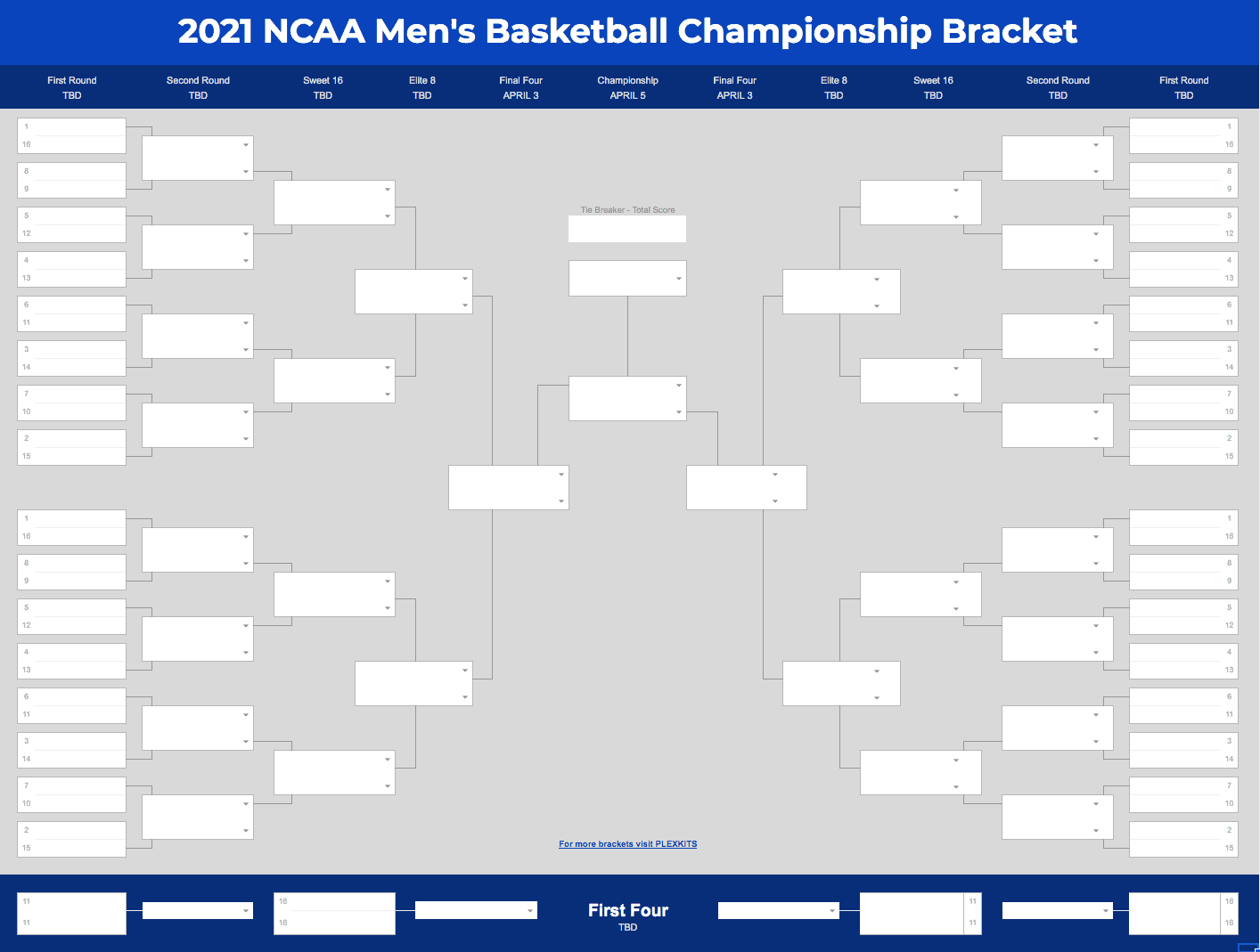 Screenshot of 2021 NCAA March Madness Bracket Spreadsheet Template